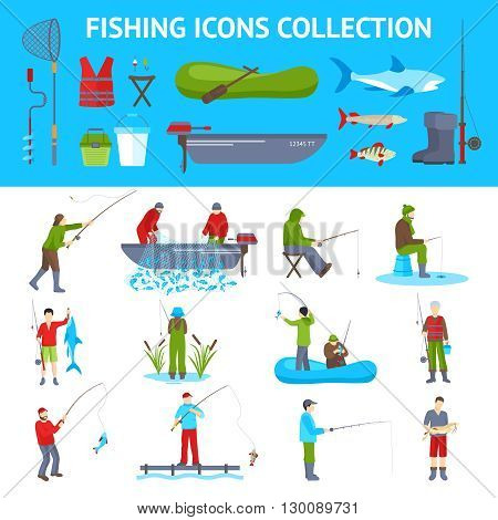 Fishing gear and equipment flat icons collection with fisherman in motorboat catching fish banners abstract vector illustration