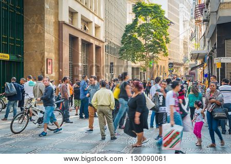 Sao Paulo - APRIL 30 2016 - Corner at XV de Novembro Street and Manoel da Nobrega Street in Downtown in the city of Sao Paulo local commerce and people.
