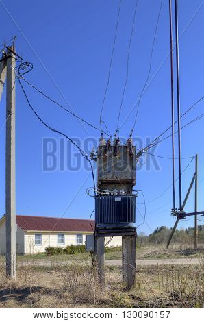 Old Electrical Power Distribution Transformer substation in the village near the new cottage.
