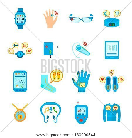 Smart Things Icons Set. Wearable Technology Vector Illustration. Wearable Technology Gadgets Flat Symbols. Wearable Technology Gadgets Design Set. Wearable Technology Gadgets Isolated Set.