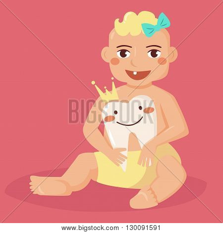 Baby with first tooth. Tooth with a crown. Flyer illustration for children dentistry. Cartoon style. Boy
