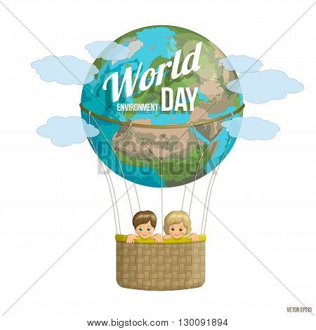 World Environment Day.  Happy kids on the planet flying in a balloon. Colorful banner for advertising brochures on environmental issues. Vector illustration