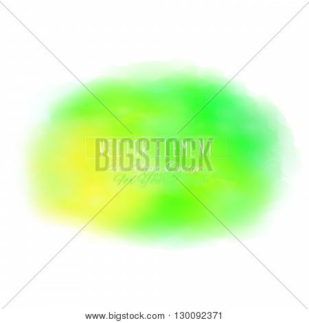 Vector watercolor spot. Watercolor background. Colorful abstract texture. Bright watercolor stain. Vector art banner. Yellow and green colors