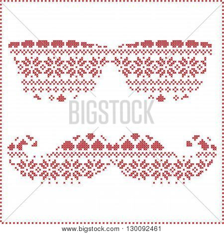 Hipster pattern in Scandinavian Nordic winter stitching  knitting  christmas style with mustache, geek sunglasses and hat with christmas presents, snow, stars, decorative ornaments on white background