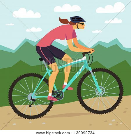 Racing cyclist girl in action. Fast mountain woman biker and mountain landscape. Editable vector illustration.
