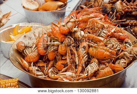Boiled crawfish ready to eat in the kitchen of a seafood restaurant