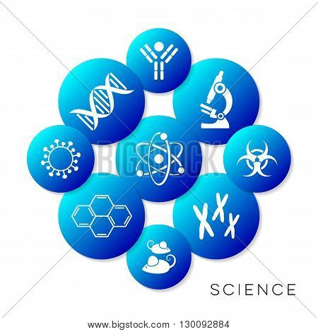 Modern blue vector science infographic buttons collection