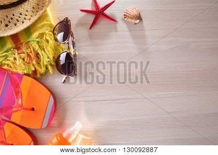 Beach Articles Prepared On A Wooden Table Top View