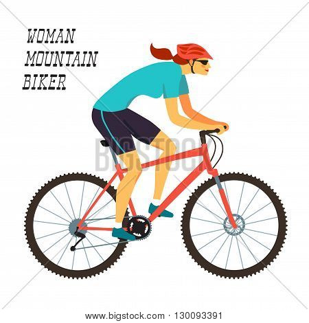 Racing cyclist girl in action. Fast mountain woman biker. Editable vector illustration.