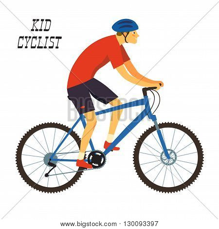 Kid cyclist in action. Boy mountain biker. Editable vector illustration.