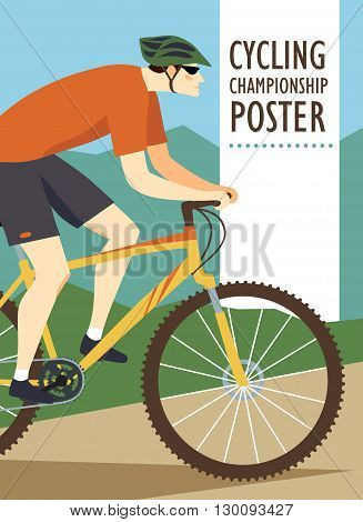 Racing mountain cyclist in action on landscape background. Colorful poster for competition and championship or other cycling event. Editable vector illustration