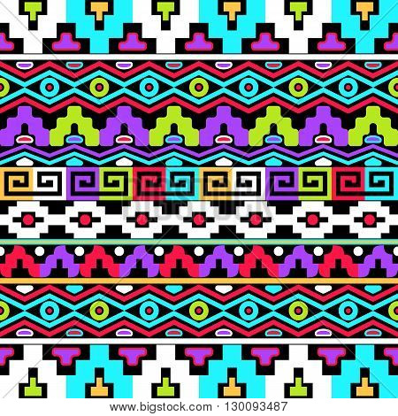 Colorful vector seamless pattern with aztec ornaments