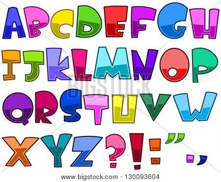 Bright cartoon alphabet set