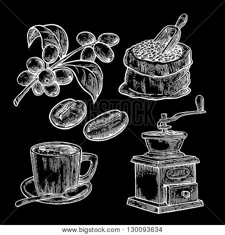Sack with coffee beans with wooden scoop and beans, cup, branch with leaf and berry. Hand drawn sketch style. Vintage vector engraving illustration for label, web.  Isolated on black background.