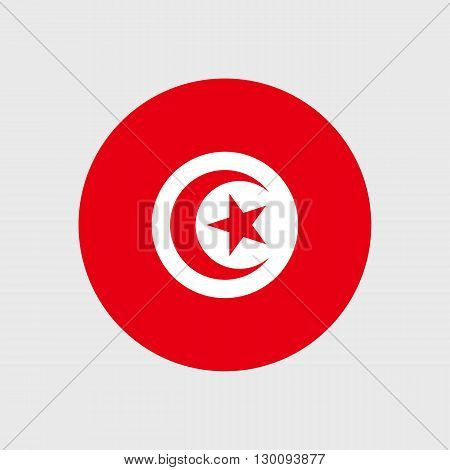 Set of vector icons with Tunisia flag