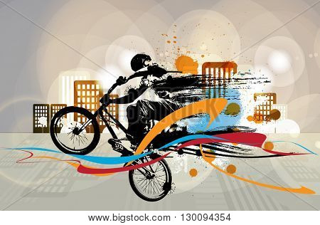 Vector of BMX cyclist