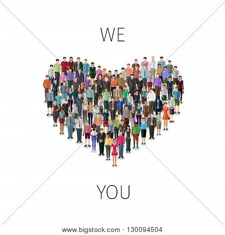 heart shape build of many casual people, modern design conceptual illustration