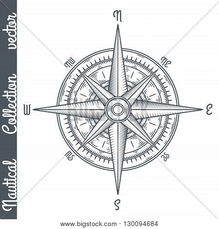 Wind rose isolated. Hand drawn vector illustration.