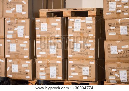 Rio de Janeiro Brasil - may 12 2016: Cardboard boxes in deposit clothing with identification