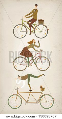 City style elegant cyclists set on old paper background. Tweed run vintage characters. Cartoon old style cyclists illustration for your design.
