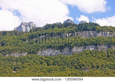 rocky mountains of the French Alps above Lake Annecy