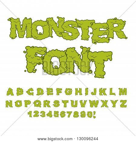 Monster Font. Horrible Alphabet Letters Of Green. Sweet Frightening Abc Of Terrible Letters. Disgust
