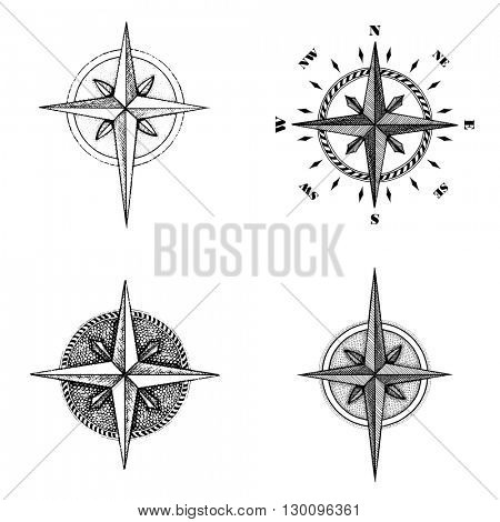 Hand drawn compass wind rose symbol. Vector travel tool. Vintage illustration