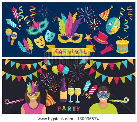 Horizontal color flat banners depicting decoration and elements of carnival party vector illustration