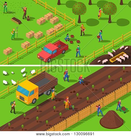 Farmers at work planting reaping harvesting crops and fruits 2 isometric banners composition poster abstract vector illustration
