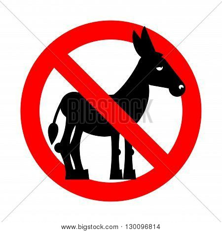 Stop donkey. Ban stupid people. Prohibited fool. Crossed-out silhouette of donkey. Emblem against stupidity. Red prohibition sign