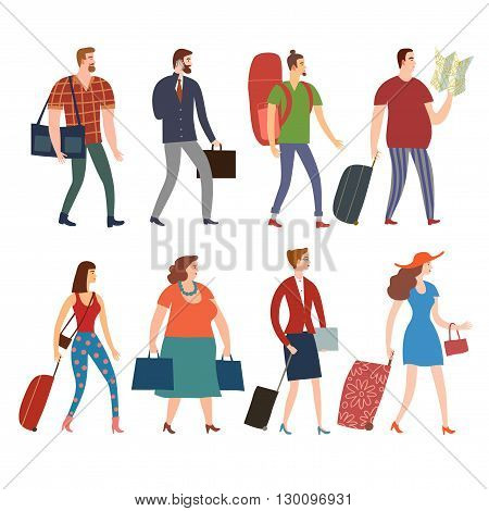 Set of cartoon people in various lifestyles walking with bags and suitcases. Including traveling businessman man woman teenagers. Characters illustrations for your design.