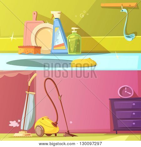 Cleaning horizontal cartoon banners set with washing the dishes and vacuum cleaner isolated vector illustration