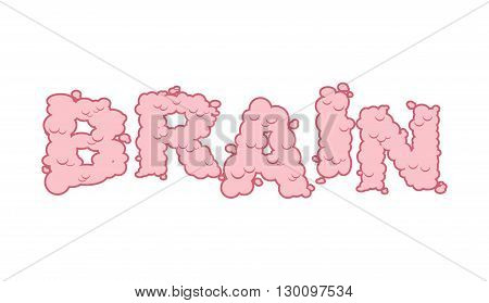 Brain Text. Letters Of Convolutions. Pink Lettering And Typography Mind.