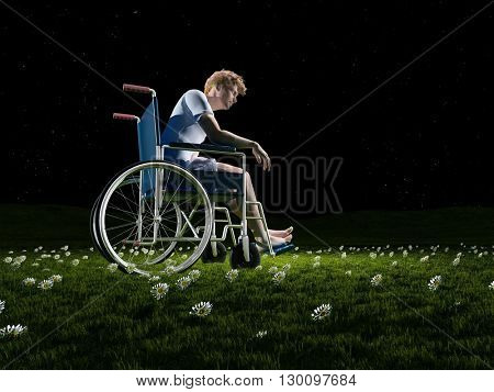 A man in a wheelchair on a background of green grass.3d render