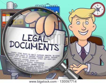 Businessman in Office Workplace Holds Out a Paper with Text Legal Documents. Closeup View through Lens. Colored Doodle Style Illustration.