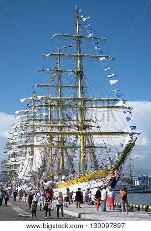 SOCHI, RUSSIA - 16 MAY, 2014. The Romanian bark Mircea. Large sailing ships in the port of Sochi.