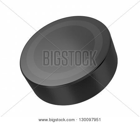 Hockey puck isolated on white background, 3D illustration