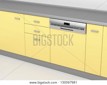 Modern integrated dishwasher in the kitchen 3D illustration