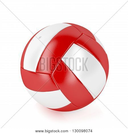 3D illustration of red and white volleyball ball on shiny white background