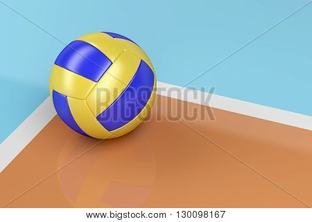 Leather volleyball ball on shiny floor, 3D illustration