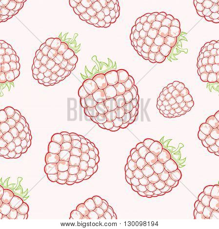 Seamless background with red ripe raspberries on white background, illustration.