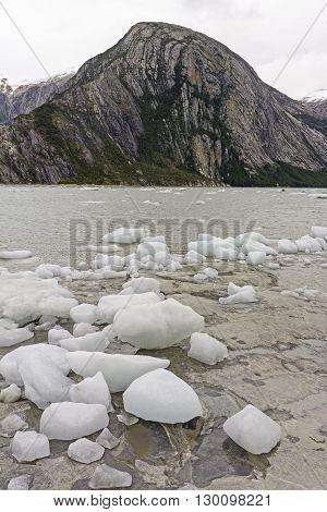 Ice Bergs on a Remote Shore near the Pia Glacier in Tierra del Fuego in Chile