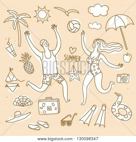 Summer vacation cartoon drawings including doodle pair playing volleyball map palm camera swimwear sunglasses and different beach stuff. Summer illustration for your design.