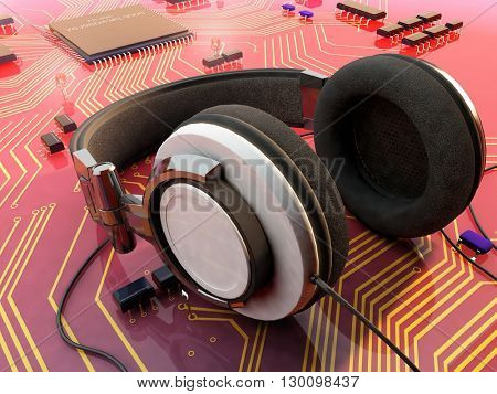 Headphones on a microtiter plate.3d render