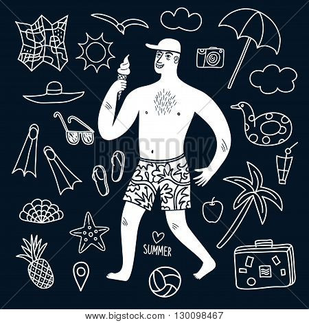Summer vacation cartoon drawings with man holding ice cream and doodle elements including map palm camera swimwear sunglasses and different beach stuff.