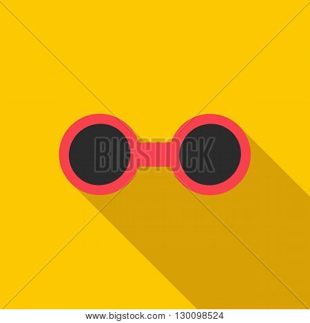 Sunglasses icon in flat style with long shadow. Sun protection symbol