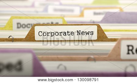 Corporate News on Business Folder in Multicolor Card Index. Closeup View. Blurred Image. 3D Render.