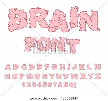 Brain Font. Letters From Central Department Human Nervous System. Pink Letters Of Convolutions. Abc