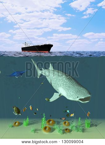 Tanker and marine inhabitants into the sea.,3d render