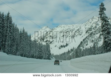 Mountain Pass In Winter